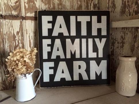 Faith Family Farm Wood Sign 183 Little Blue Barn 183 Online