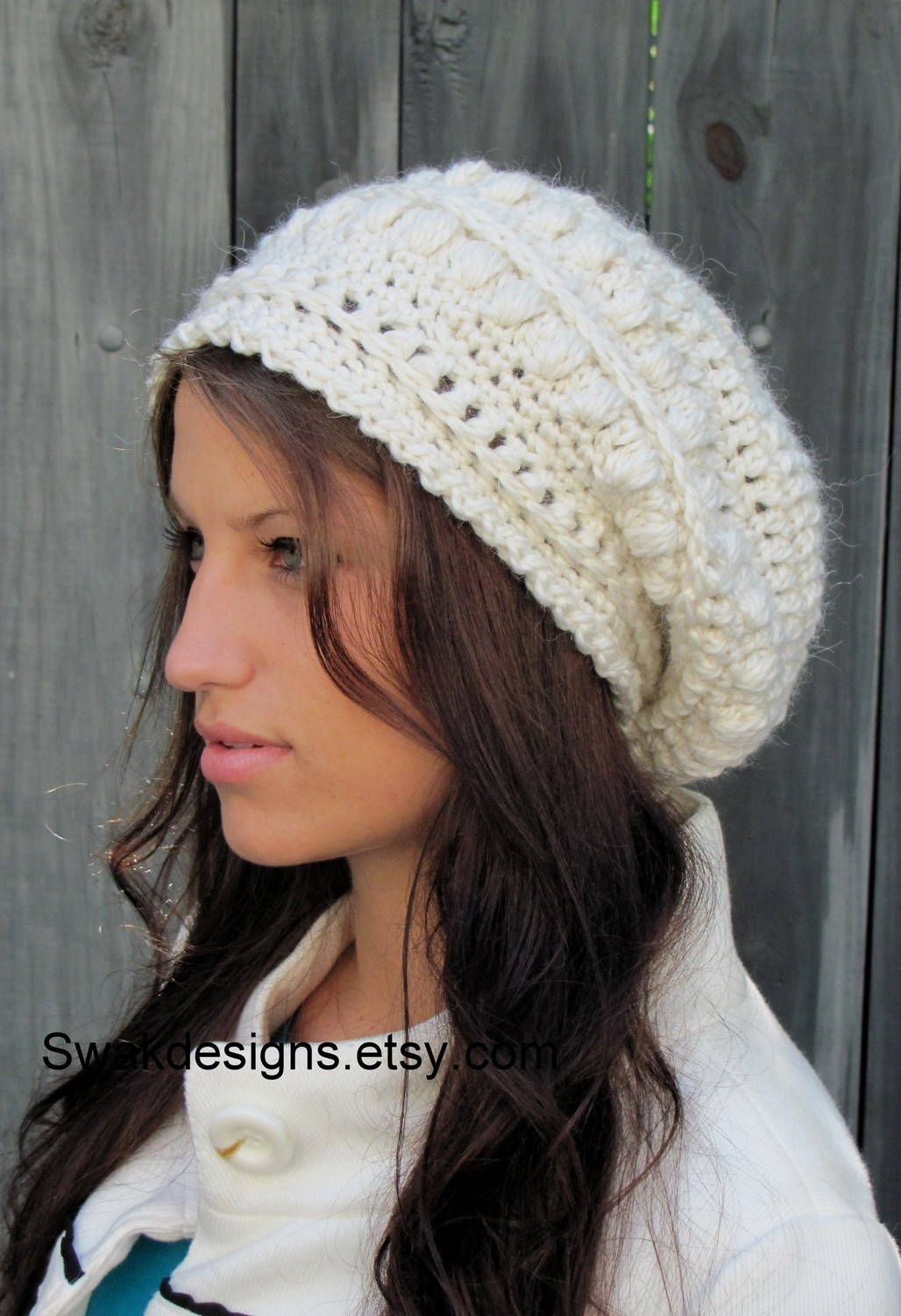 5df804310 Slouchy Bobble Hat Slouchy Beanie Cap Handmade Knit Cap Alpaca Soft Wool  Beanie Winter White or CHOOSE Your color