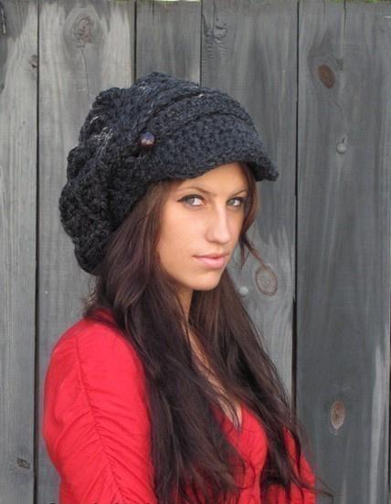 e8f4ae2b904df Slouchy Hat Womens Hat Two Button Band Newsboy Cap Handmade Chunky ...