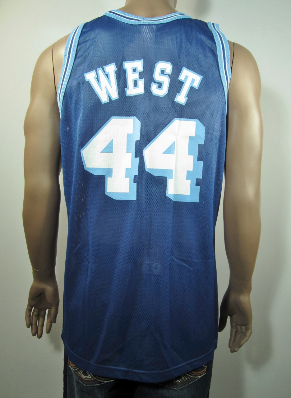 684c27d9 Jerry West Los Angeles Lakers NBA 50 Gold logo Champion Jersey 44 ...
