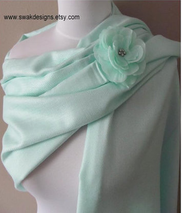 703d4400d12e9 Pale mint green pashmina scarf, bridesmaid shawl wedding shawl wrap stole  pashmina set wedding bridal