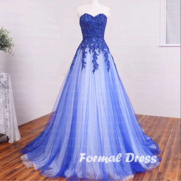 e5d8b1bba9a Pretty A-line Sweetheart Blue And White tulle Lace Long Prom Dress ...