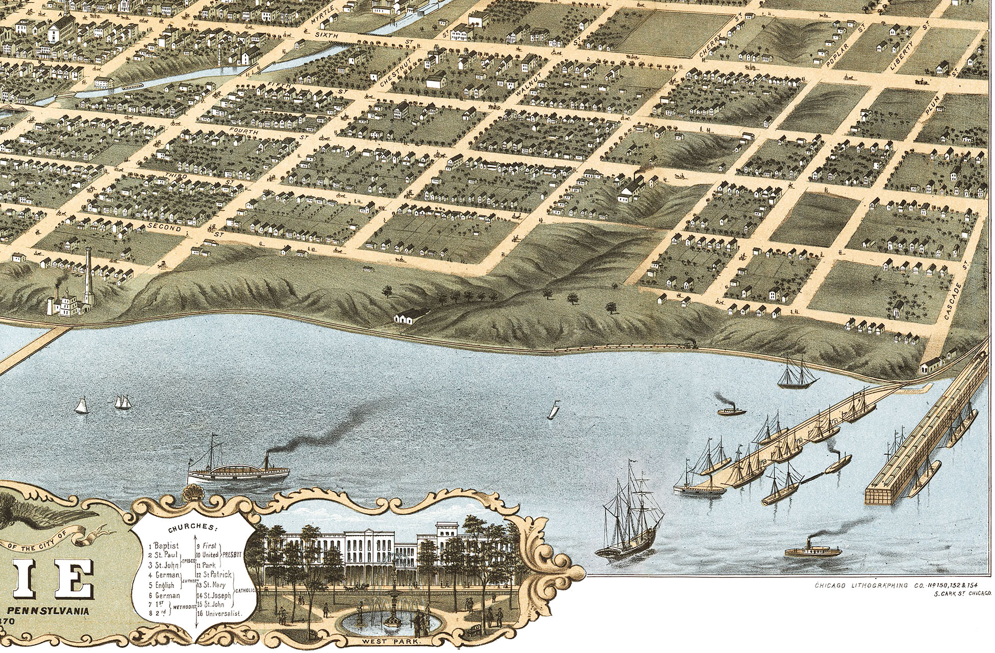 Erie, Pennsylvania in 1870 - Bird's Eye View, Map, Aerial, Panorama,  Vintage, Antique, Fine Art, Wall Art, History from The Old Maps of the 1800s
