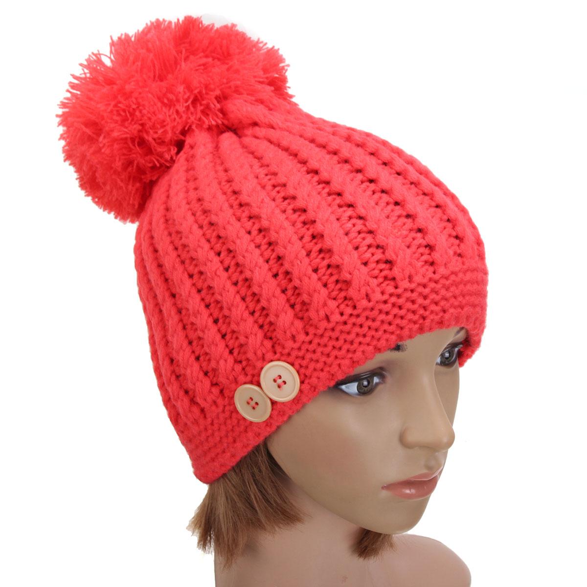 ea8b5d10c37 Women Ladies Button Crochet Knitted Beret Hat Ski Beanie Ball Wool Winter  Warm Cap - Thumbnail ...