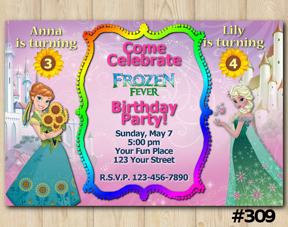 JOINT TWINS INVITATION Frozen Fever Birthday Party Custom Printable Invite 309