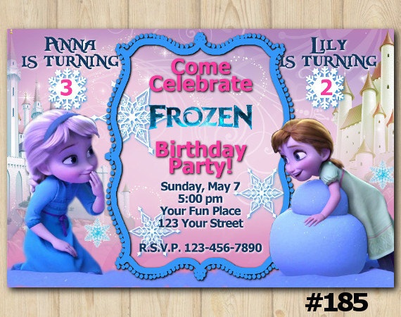 Joint Twins Invitation Frozen Anna Birthday Party Custom Printable File DIY185 From DIY Printables