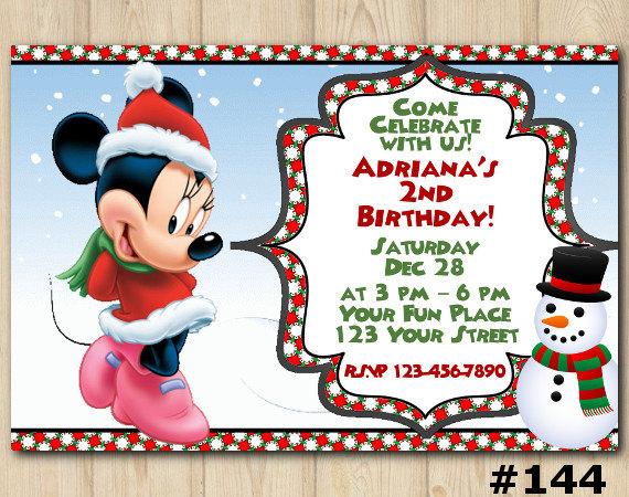 Minnie Mouse Christmas Invitation Birthday Custom Printable File DIY144