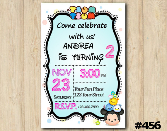 Tsum tsum invitation birthday party custom printable 456 diy tsum tsum invitation birthday party custom printable 456 filmwisefo