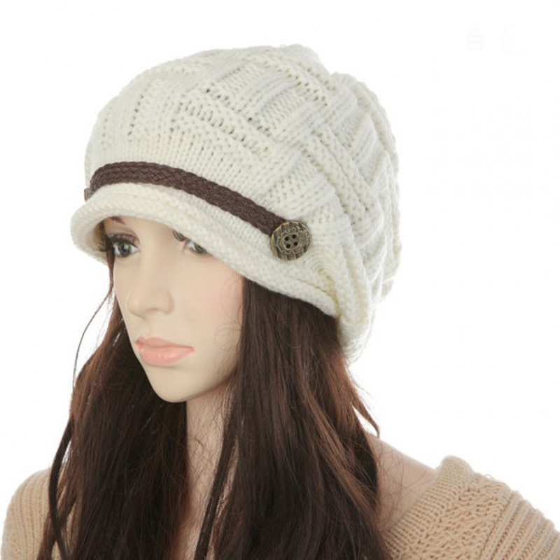 Women Girl Crochet Strap Knitting Caps Button Decorative Baggy Beanie Hat -  Thumbnail 1 ... 6684d99b166c
