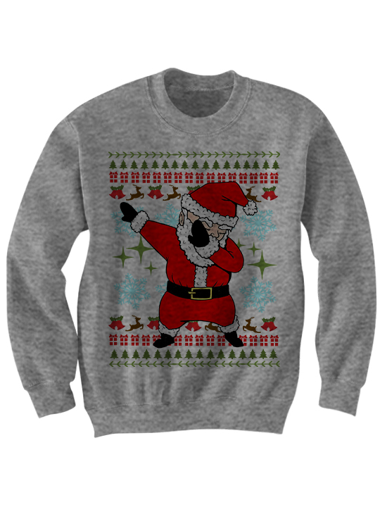 dab 20santa 20ugly 20grey small - Cheap Mens Ugly Christmas Sweater