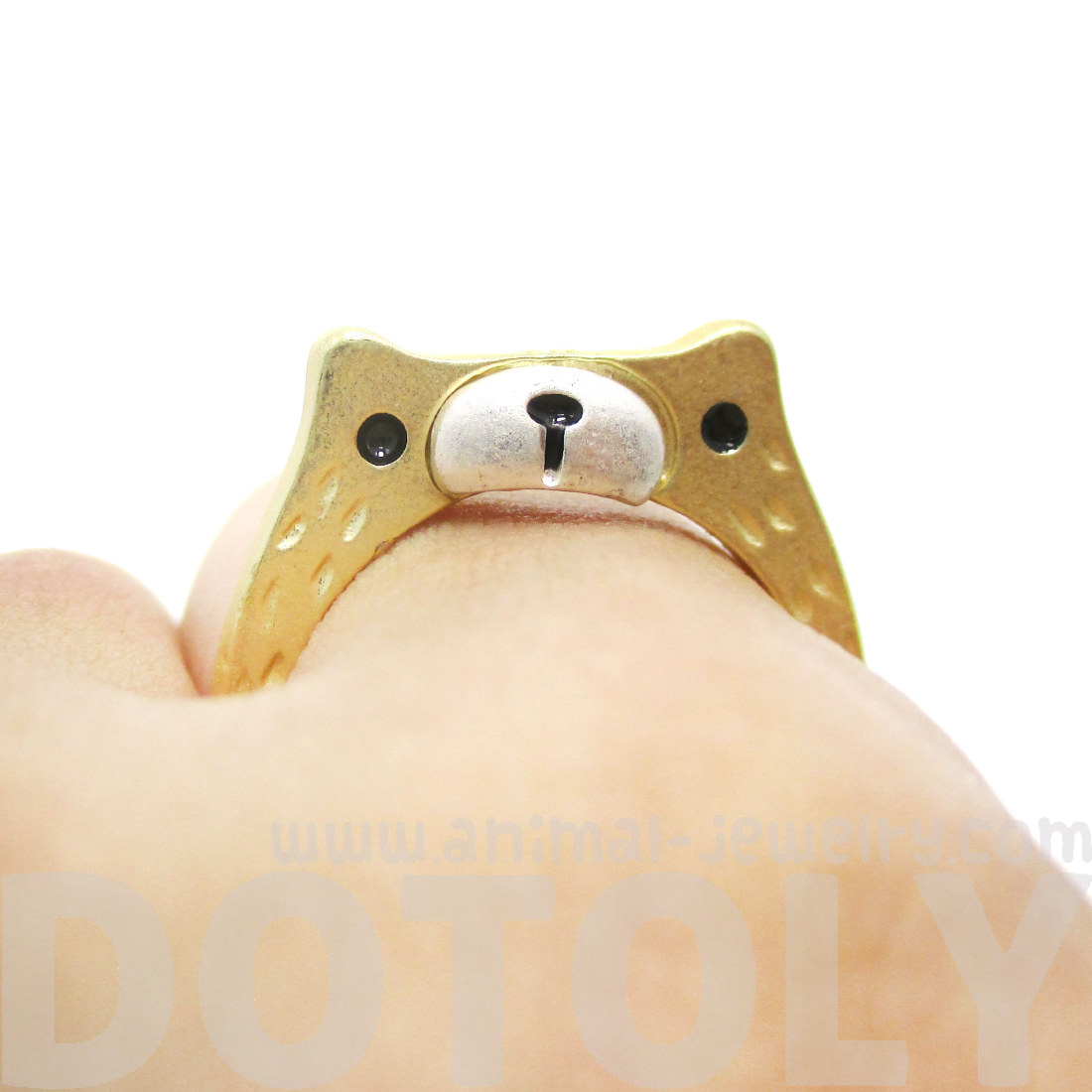 Bear In Hing Reng 2: Teddy Bear Face Shaped Animal Ring In Gold With Textured