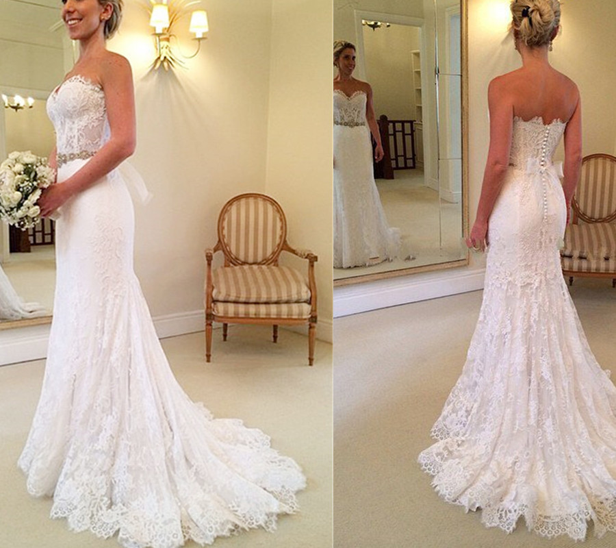 Real Beautiful White Lace Long Wedding Dresses,Sweep Train Backless ...