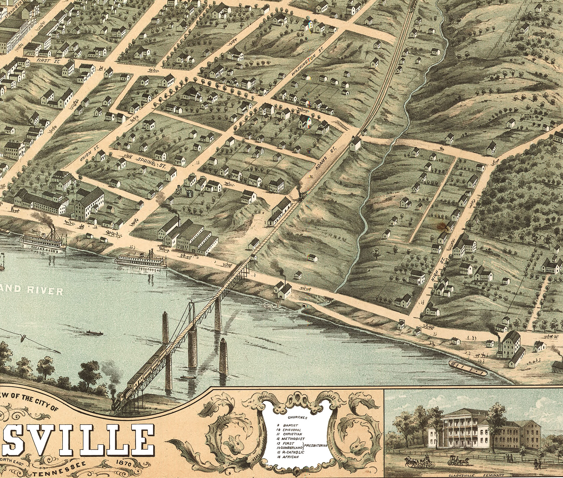 Clarksville, Tennessee in 1870 - Bird's Eye View, Map, Aerial, Panorama, on map of grainger county tn, map of berry hill tn, map of tennessee, map of frayser tn, all map of tn, map of lobelville tn, map of petersburg tn, map of fall branch tn, map of johnsonville tn, map of millersville tn, map of clarkrange tn, map of pleasant view tn, map of arrington tn, map of adams tn, map of jefferson co tn, map of ridgetop tn, map of tallassee tn, map of madison co tn, map of rivergate tn, map of mountain home tn,