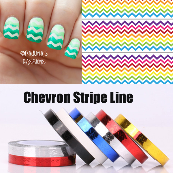 6pcs/Set Chevron Nail Vinyls Nail Striping Tape Colorful Nail Art ...