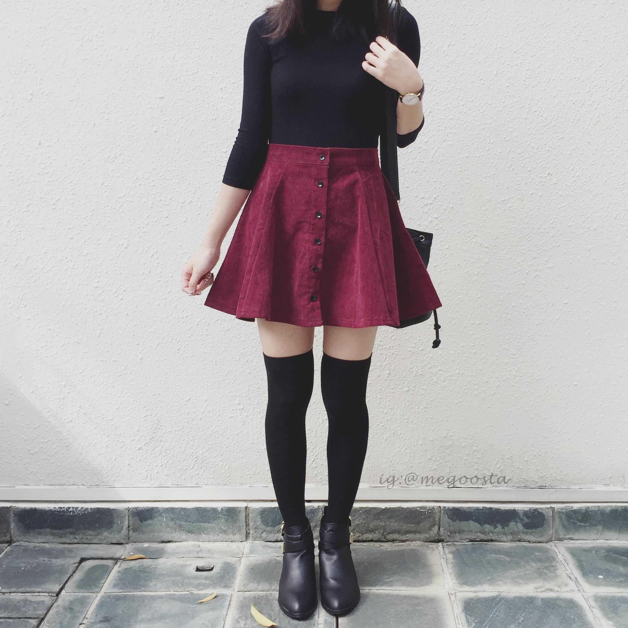 e417cabab3 Corduroy Button Up Skirt (Maroon) · Megoosta Fashion · Free shipping ...