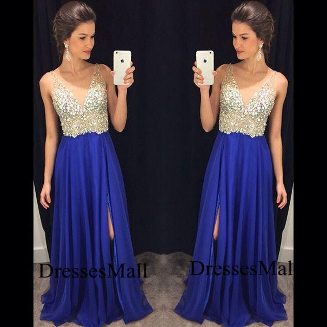 4fda2978bd07 V Neck Blue Prom Dresses 2016
