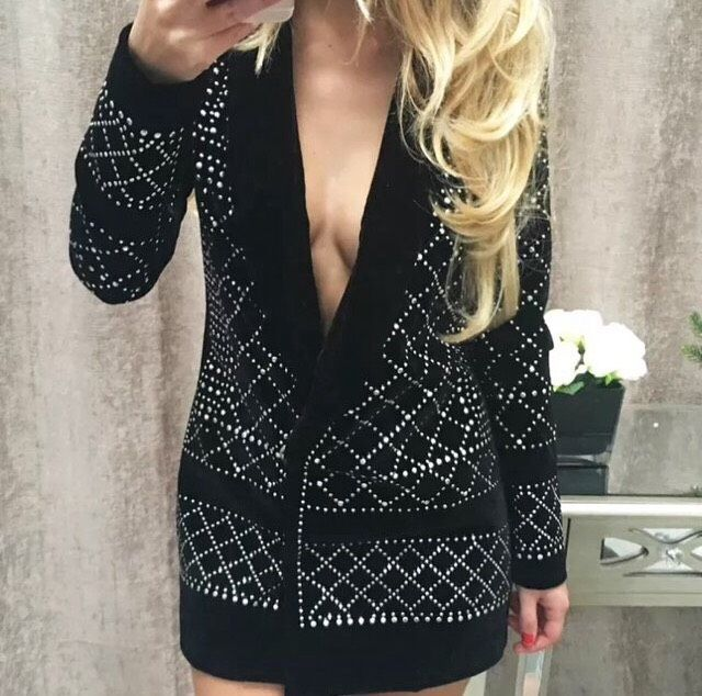 e976e00f2953 Womens Black Velvet Velour Long Sleeve Studded Blazer Dress on Storenvy