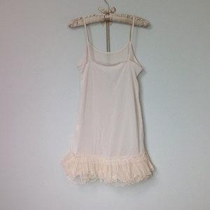 0371cede8df4 Cream Sheer Chiffon Tulle Ruffles Slip Extender, Layering Skirt Extender Slip  Dress with Sheer Lace ...