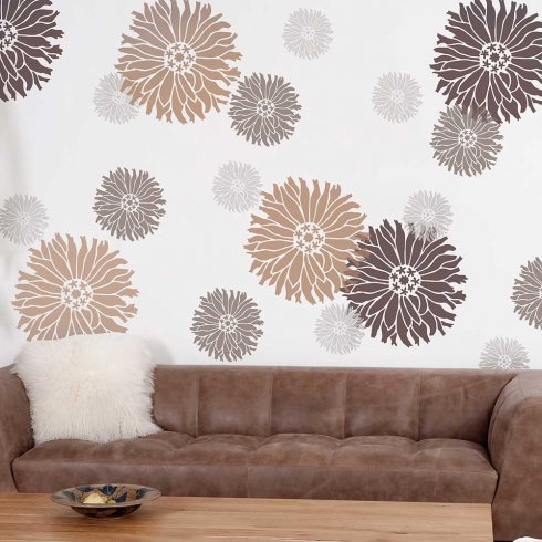 Starburst Zinnia Wall Stencil - SMALL - Reusable DIY Wall Decor ...