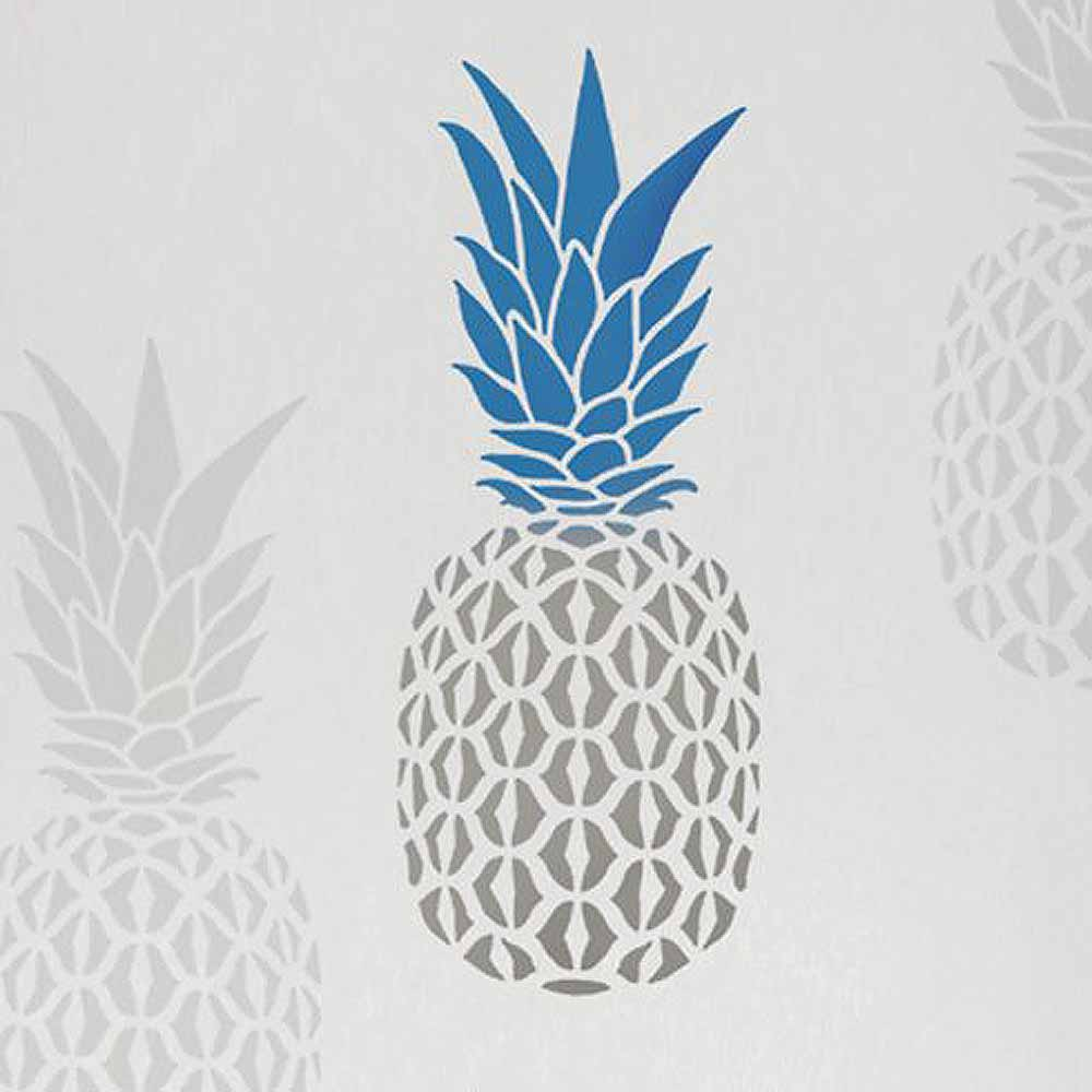 pineapple pattern pineapple stencil wall stencils_small - Walls By Design