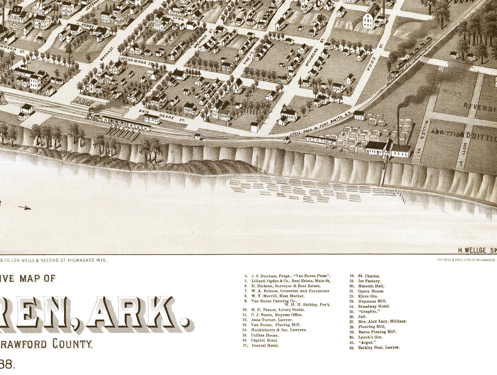 Van Buren Arkansas In Birds Eye View Map Aerial Map - Vintage milwaukee map