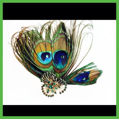 7946fd0f172eb Peacock feathers antique fascinator emerald brooch rhinestone hair clip  wedding