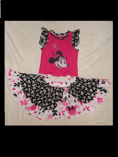 Minnie Mouse Appliqued Tank and Circle skirt(-----)Flutter sleeves and  Ruffles(-----)Size 24 months and Ready to Ship sold by Sissybugs
