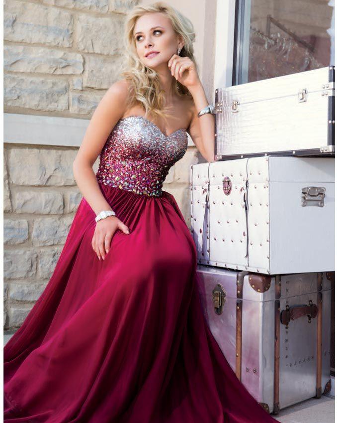 Hot Sales Burgundy Prom Dresses,A Line Sweetheart Long Prom Dress ...