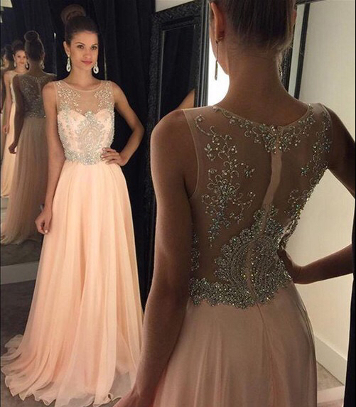 b97bbfbc37249 New Arrival Prom Dress Illusion Neckline Peach Chiffon with Beaded Formal  Dress APD1651