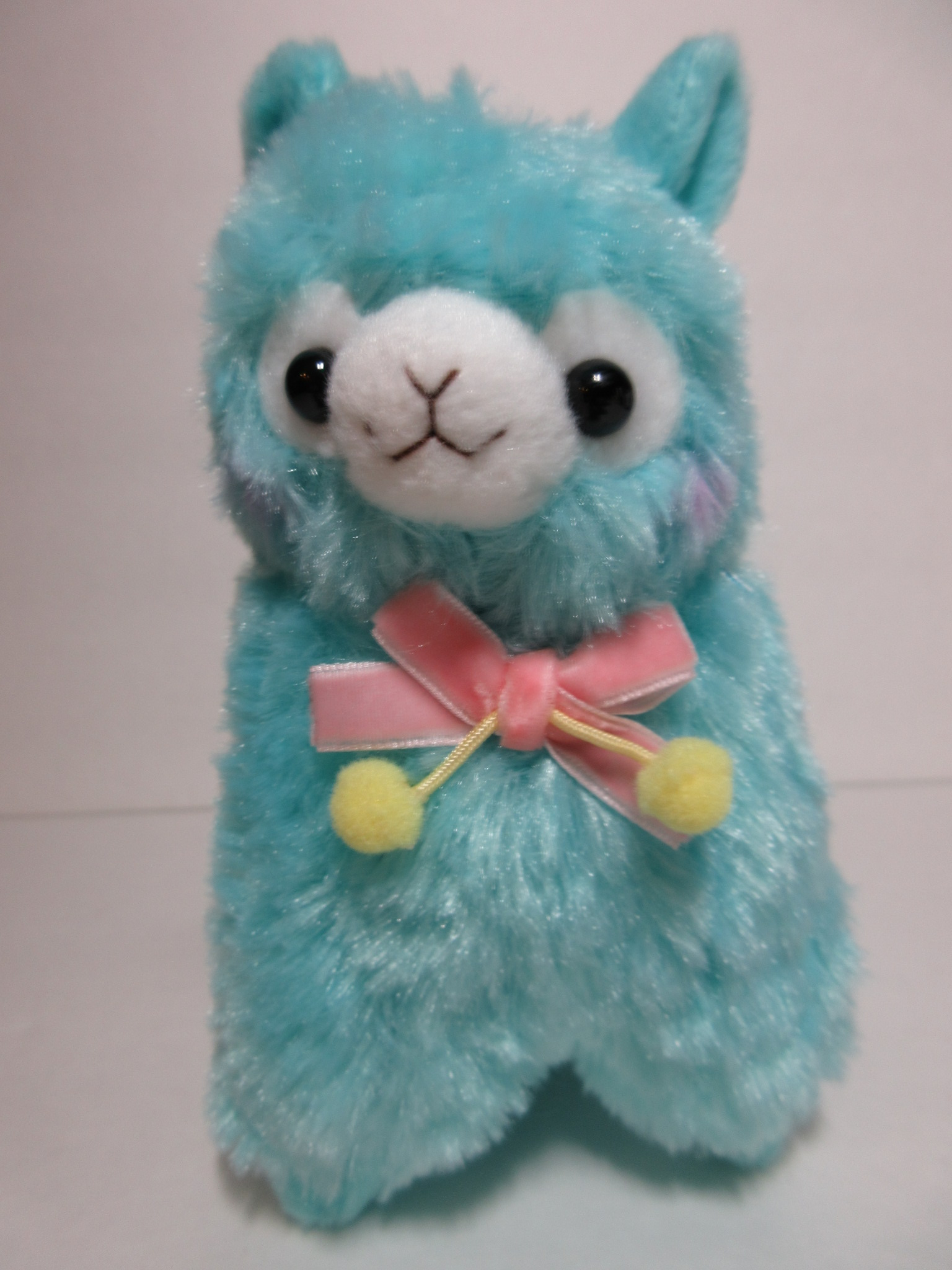 """Velvet Ribbon"" Alpacasso Blue Alpaca Pink Ribbon 16cm ..."