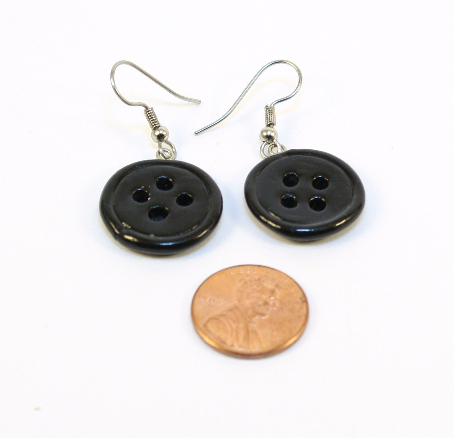 Coraline Black Button Earrings Mto On Storenvy