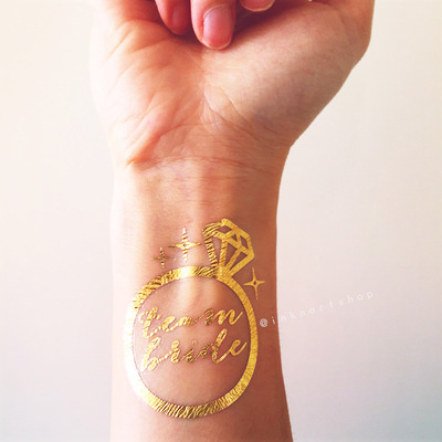 fd2736a5ca70a Gold metallic diamond ring bride heart arrow bachelorette hen party favors  custom temporary tattoo personalized gift
