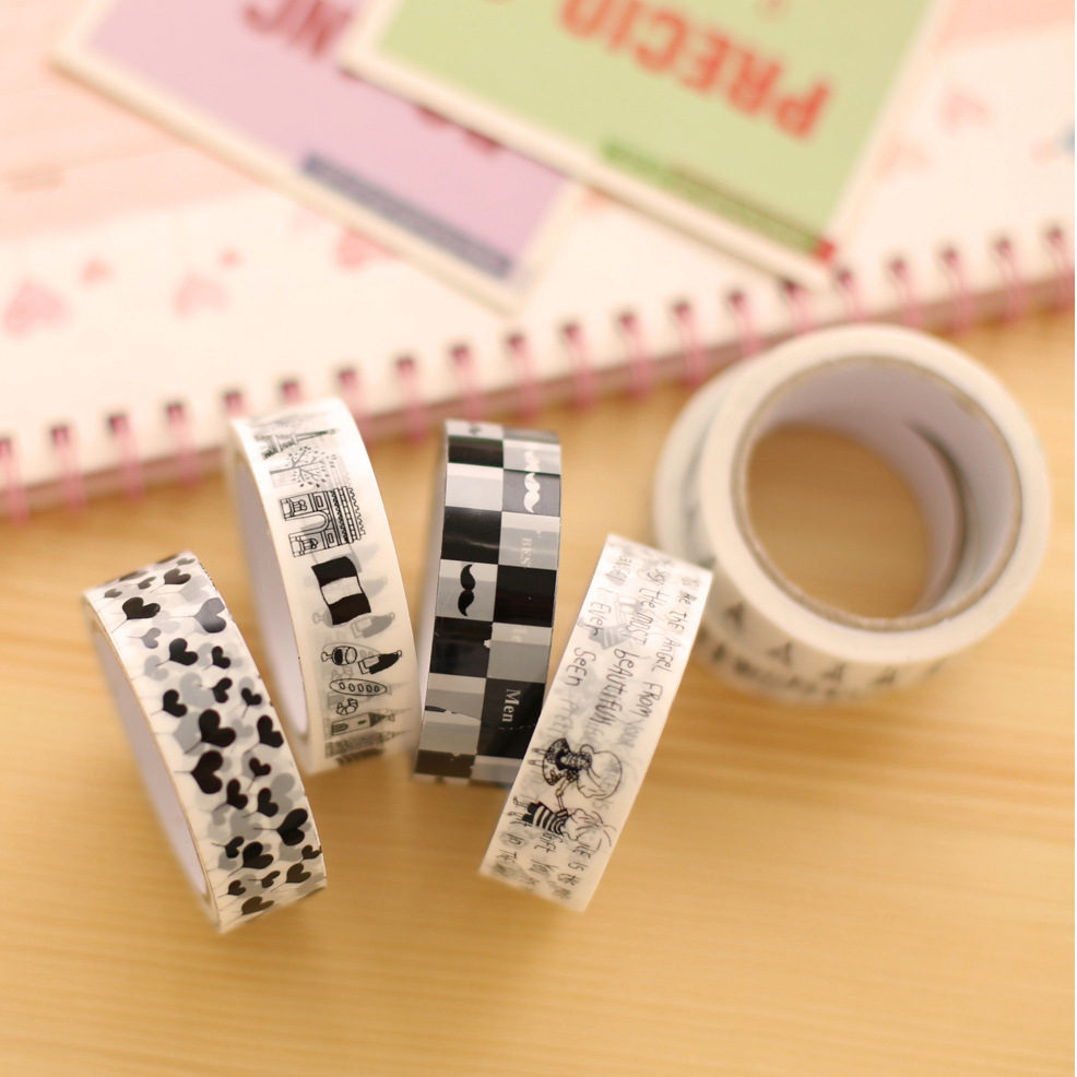10 Pcs Lot Black White Cartoon Tape Diy Lace Deco Adhesive Tapes  Scrapbooking Tools Kawaii Stationery
