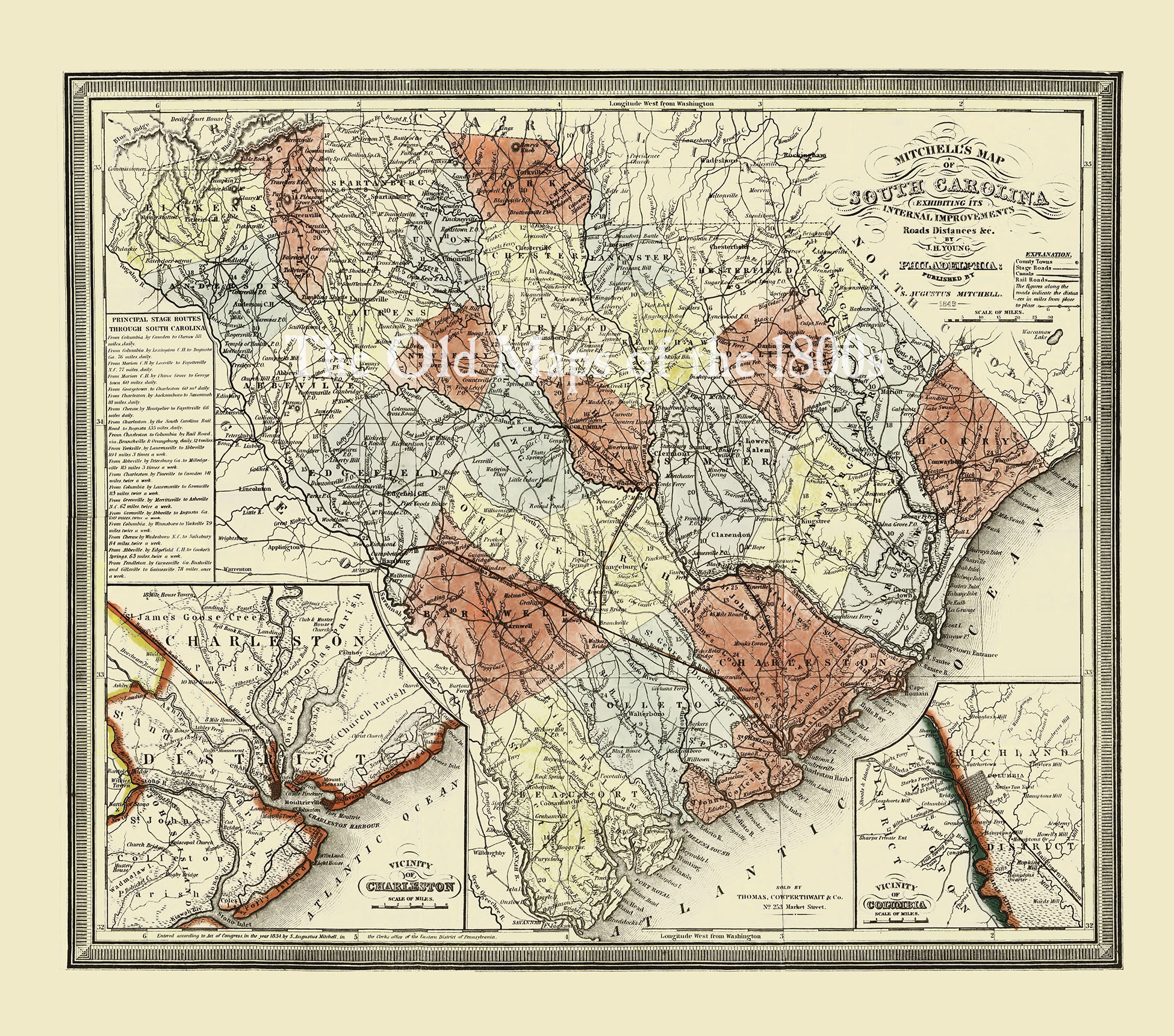 Mitchell's South Carolina in 1849 - State Map, Restoration, Vintage,  Antique, Fine Art, Wall Art, History from The Old Maps of the 1800s