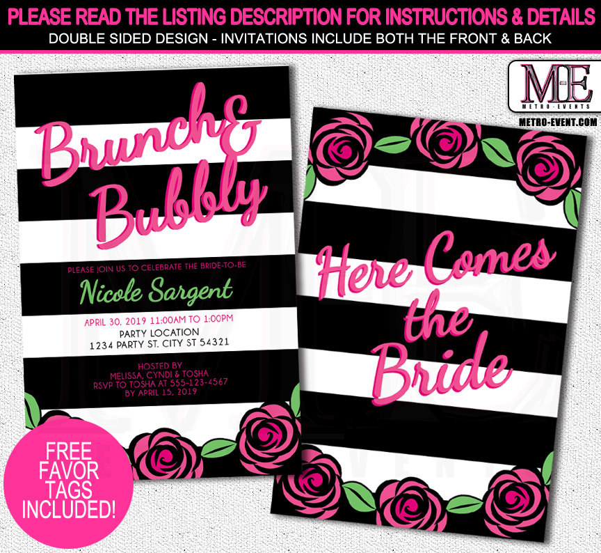 Black and White Bridal Shower Invitations from Metro-Events Party Supplies