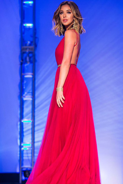 red backless prom dress, hot pink prom dress, backless ...