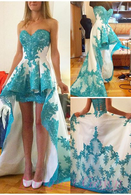 5aabff75ce8c Blue Lace Applique High Low White Prom Dresses Ruffles Sweetheart Neck  Sweep Train Evening Dresses for