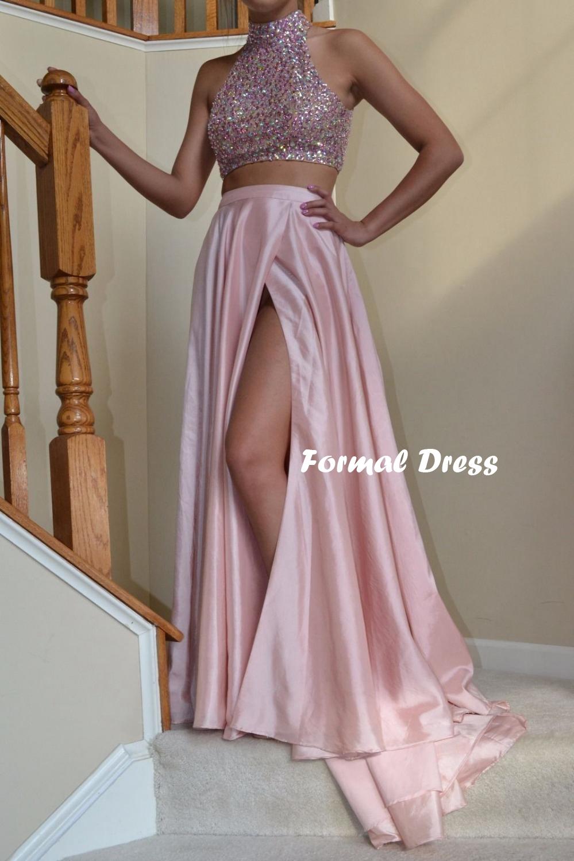 b4e3da423d70 ... Pink two pieces prom dress,A-line high neck beading long prom dresses,  ...