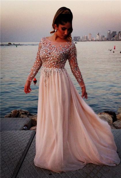 46496796adf Bateau long sleeves luxurious beading A-line evening dress