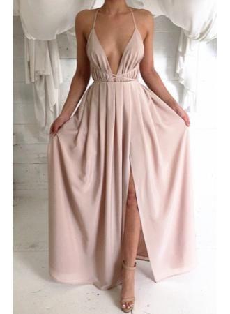 a299385d89d V-neck Slit Empire Waist Evening Dress