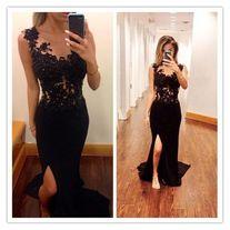 377bc1baa5 Black Lace Mermaid Prom Dress Long