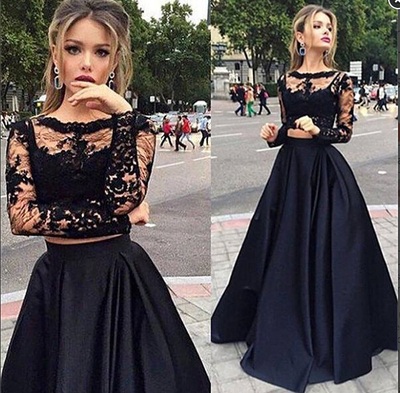 04b7621bd51 Black Lace Two Pieces Evening Dresses Gorgeous Long Sleeves High Neck Prom  Dresses New Arrival Prom