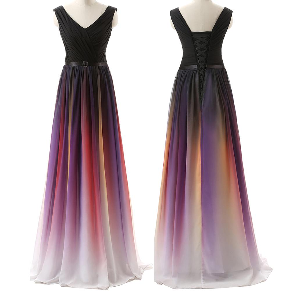 Black Navy Blue Colors Ombre Prom Dresses,V neck Off the Shoulder ...