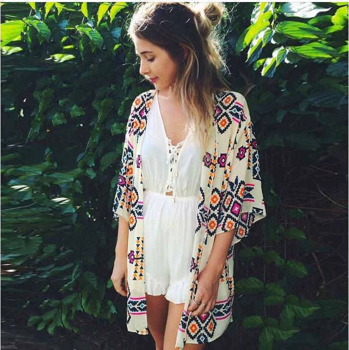 14e6cb4943 Floral print chiffon blouse Tropical style kimono cardigan Vintage ...