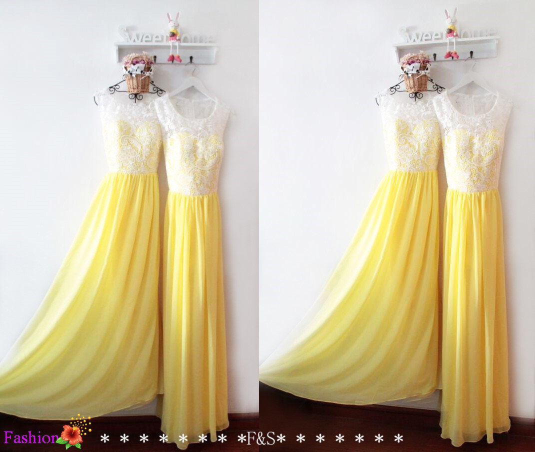 Yellow and White Lace Bridesmaid Dresses