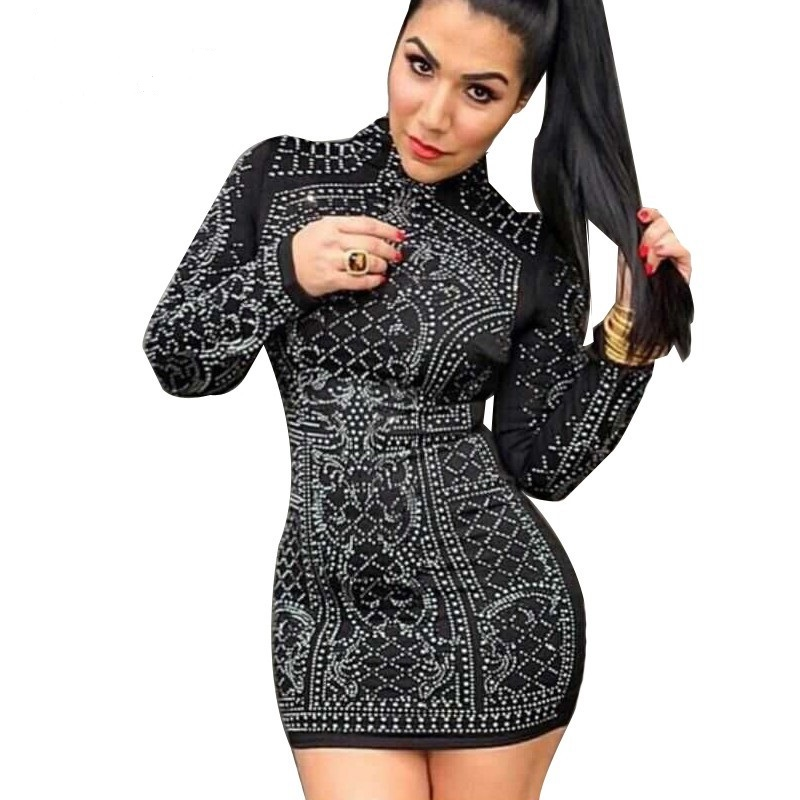 950866ad050 Fitted Geometric Studded Dress Black Long Sleeves Party Dress - Thumbnail 1  ...