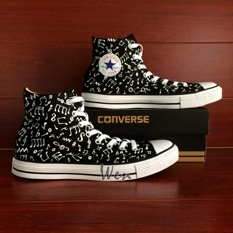 Music Notes Original Design Black Converse All Star Hand Painted ... 28beb878c3f0