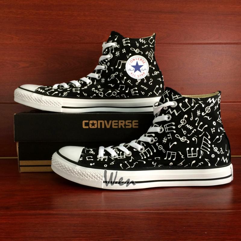 64e0616b10e0 Music Notes Original Design Black Converse All Star Hand Painted ...