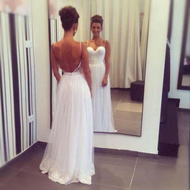 Spaghetti Straps Long Elegant Lace Prom Dressescheap Wedding
