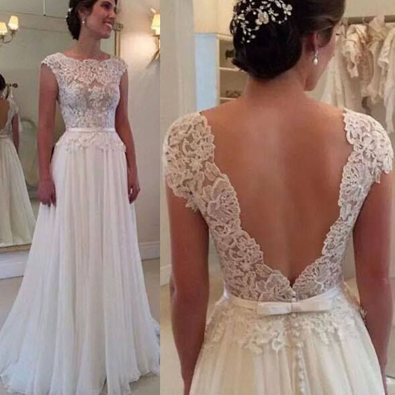 68785c41979 White Lace Prom Dress with Hot Low V-back